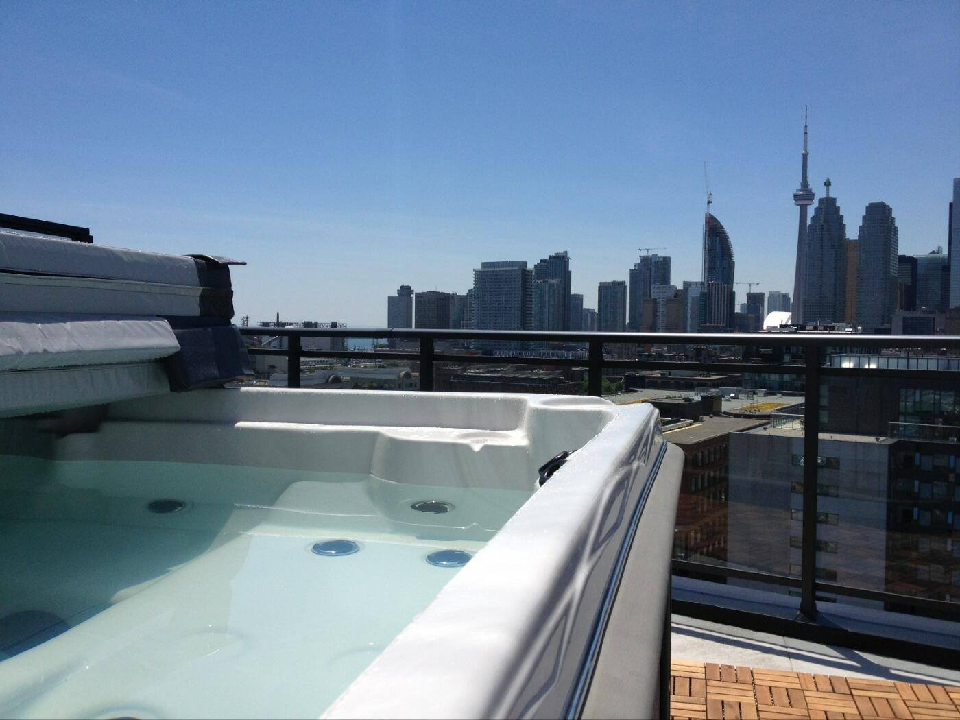 hot tub with a view of the city!